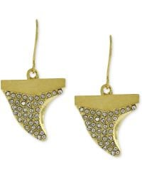 Vince Camuto - Goldtone Clear Crystal Pave Shark Tooth Drop Earrings - Lyst