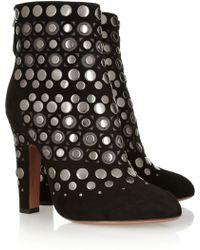 Alaïa Studded Cutout Suede Ankle Boots - Lyst