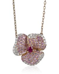 AS29 - Pink Pave Diamond Flower Necklace - Lyst