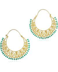 Isharya - Green Onyx Moon Bali Heart Filigree Hoops - Lyst