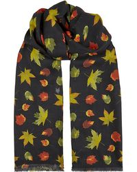 Richard James - Leaf Print Scarf - Lyst