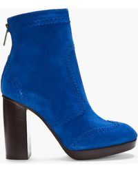 Christopher Kane Blue Suede Brogue Boots - Lyst