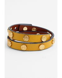 Tory Burch Logo Leather Wrap Bracelet - Lyst