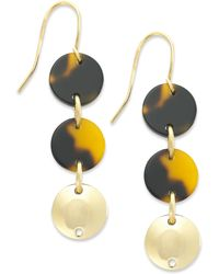 Lauren by Ralph Lauren - Gold-Tone Tortoise Disc Triple Drop Earrings - Lyst