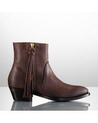 Ralph Lauren Collection Ninette Leather Tassel Boot - Lyst