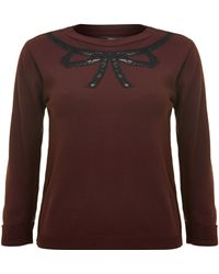 Therapy Lace Bow Jumper brown - Lyst