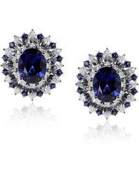 Carat* - Sapphire Oval Cluster Earrings - Lyst