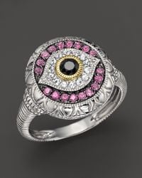 Judith Ripka Sterling Silver Evil Eye Ring with Black White and Pink Sapphires - Lyst