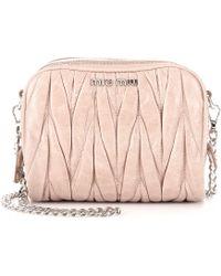 Miu Miu Matelassé Leather Mini Shoulder Bag - Lyst