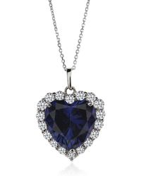 Carat* - Sapphire Border Set Heart Pendant with Chain - Lyst