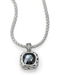 John Hardy Classic Chain Hematite & Sterling Silver Small Square Pendant Necklace - Lyst