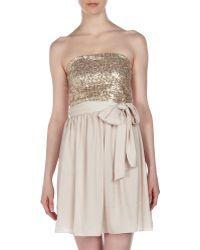 Rebecca Taylor Sequinbodice Strapless Dress - Lyst