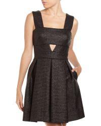 Robert Rodriguez Raffia Cutout Dress  black - Lyst