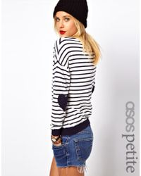 Asos Asos Petite Heart Elbow Patch Sweater in Stripe - Lyst