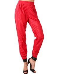 Akira Black Label - Pleather Pants in Red - Lyst