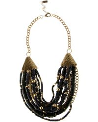 Kenneth Cole - Green Chunky Bead Multi Row Necklace - Lyst
