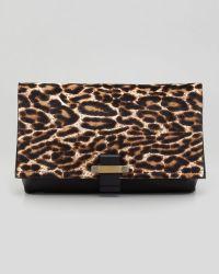 Lanvin Leopard Calf Hair Foldover Clutch Bag - Lyst