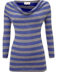 Linea Weekend Ladies Stripe Cowl Neck Top - Lyst