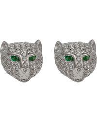 Anita Ko White Gold And Diamond Panther Stud Earrings White Gold And Diamond Panther Stud Earrings - Lyst