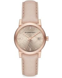 Burberry City Diamond, Stainless Steel & Leather Strap Watch beige - Lyst