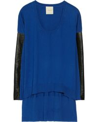 Mason by Michelle Mason Leather-paneled Cotton and Cashmere-blend Sweater - Lyst