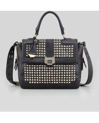 Rebecca Minkoff Elle Studded Leather Satchel Bag - Lyst