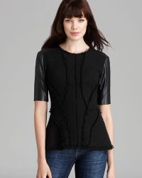 Rebecca Taylor Top Tweed Structured Leather Sleeve - Lyst