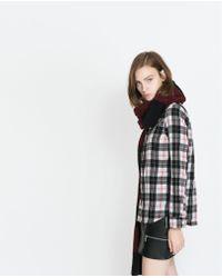 Zara Round Neck Check Shirt - Lyst