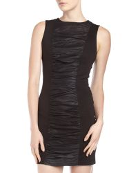 Bagatelle Ruched Leather Center Dress - Lyst