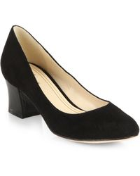 Cole Haan Chelsea Suede Patent Leather Pumps - Lyst