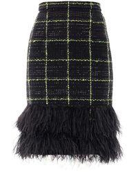 Erdem Aysha Feather Tweed Skirt - Lyst