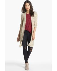 Lucky Brand Alonsa Mixed Knit Cardigan - Lyst