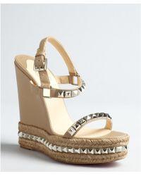 Christian Louboutin Studded Platform Wedge Sandals - Lyst