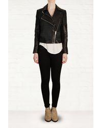 Helmut Lang Black Leather Jacquard Jacket - Lyst