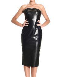 Ermanno Scervino Dress Deep Neckline Leather Dress - Lyst