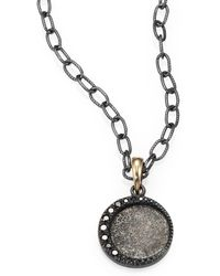 Mizuki Black Diamond, Oxidized Sterling Silver And 14K Yellow Gold Necklace silver - Lyst