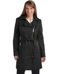 Vince Camuto Asymmetrical Belted Coat - Lyst
