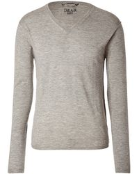 Dear Cashmere - Grey Vneck Cashmere Pullover - Lyst