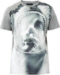 Givenchy Overblown Skull and Baseball Print T-Shirt gray - Lyst