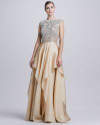 Naeem Khan - Beadedbodice Ruffleskirt Ball Gown - Lyst