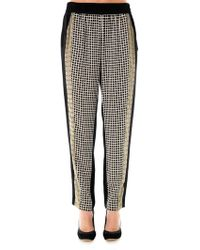 Ohne Titel Grid-Print Silk Trousers - Lyst