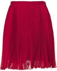 Ralph Lauren Blue Label - Coastal Red Micro Pleated Chiffon Pipa Skirt - Lyst