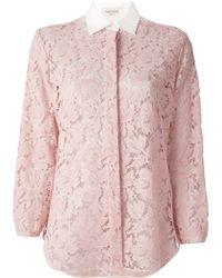 Valentino Cotton Blend Lace Detail Shirt - Lyst