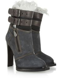 McQ by Alexander McQueen Leathertrimmed Suede and Shearling Ankle Boots - Lyst