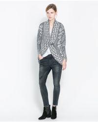 Zara Jacquard Wrap around Cardigan - Lyst