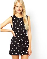 Asos Shift Playsuit in Spot Print - Lyst