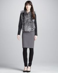 Vince - Ribbed Knit Pencil Skirt Charcoal - Lyst