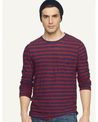 Ralph Lauren Black Label Denim Longsleeved Striped Hemp Cotton Crewneck - Lyst