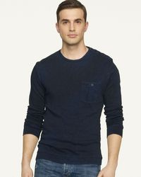 Ralph Lauren Black Label Denim Longsleeved Buttonedshoulder Slub Cotton Crewneck - Lyst