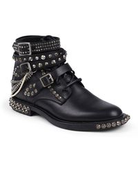 Saint Laurent Rangers Embellished Leather Lace-Up Ankle Boots - Lyst
